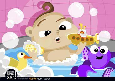 Karikaturbaby, das mit Spielwaren badet
