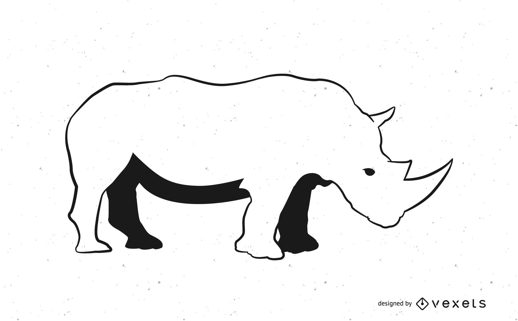 Line Art Black & White Rhino