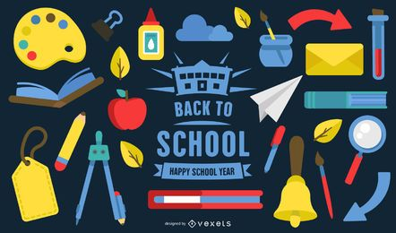 Flat Back To School Design Elements