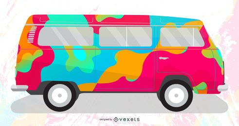 Ilustración de vector de furgoneta psicodélica gratis