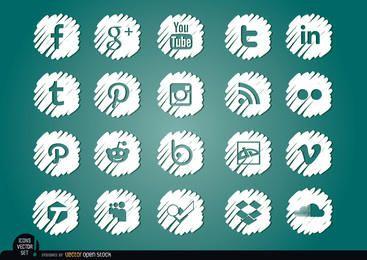 Conjunto de iconos blancos distorsionados de redes sociales