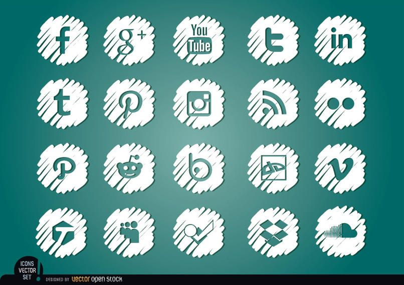 Mídia social distorcida conjunto de ícones brancos