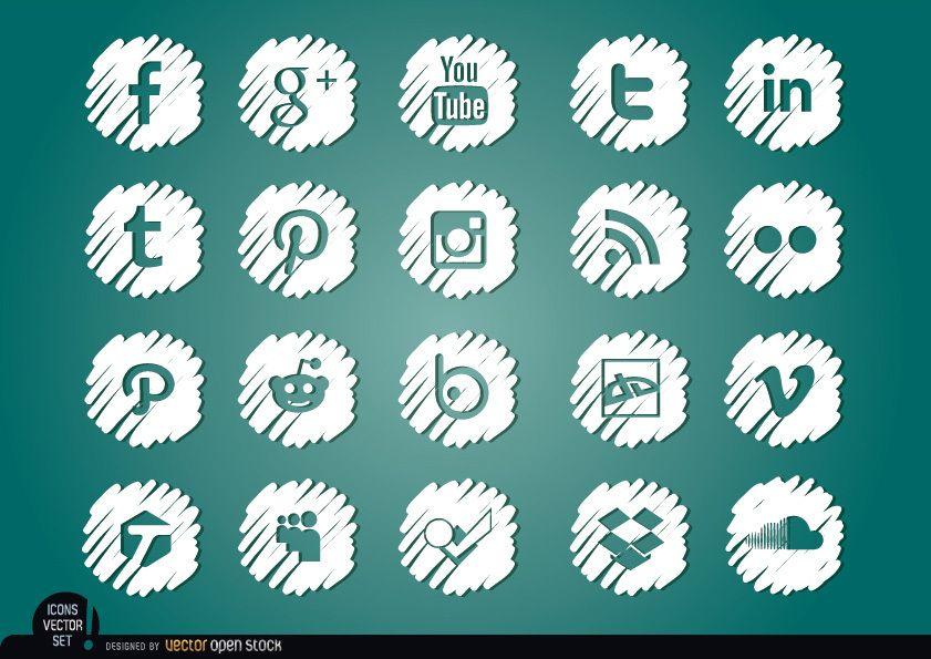 Social Media verzerrte weiße Symbole gesetzt