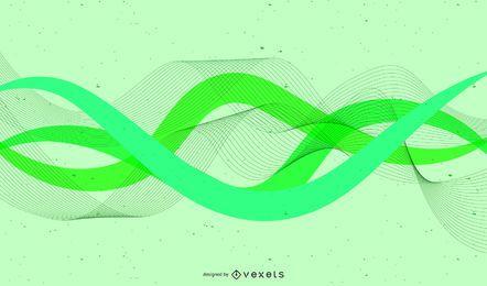 Rayos de energía verde fondo de borde ondulado