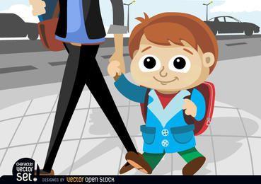 Kid indo para a escola com a mãe