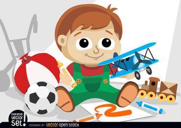 Niño pequeño jugando con juguetes