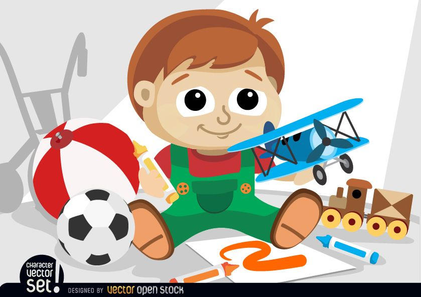 Small kid playing with toys