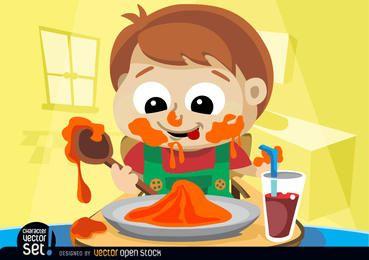 Niño desordenado comiendo