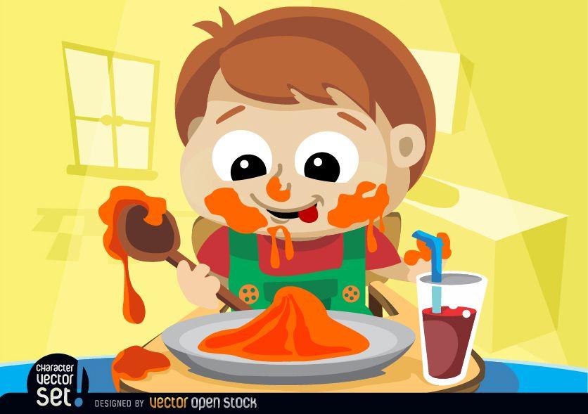 Child messy eating