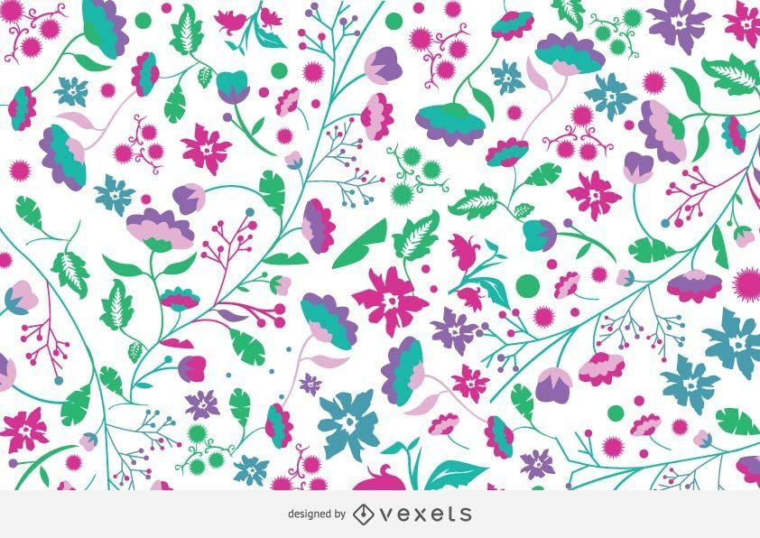 Fondo colorido del jardín de flores funky
