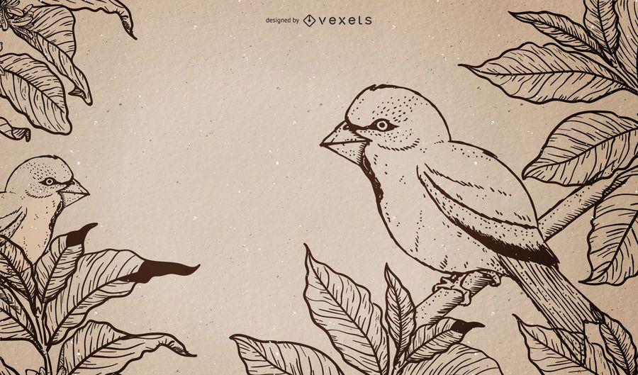 Pájaros retros en una pintura sucia de la rama