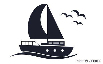 Ilustração em preto e branco do barco