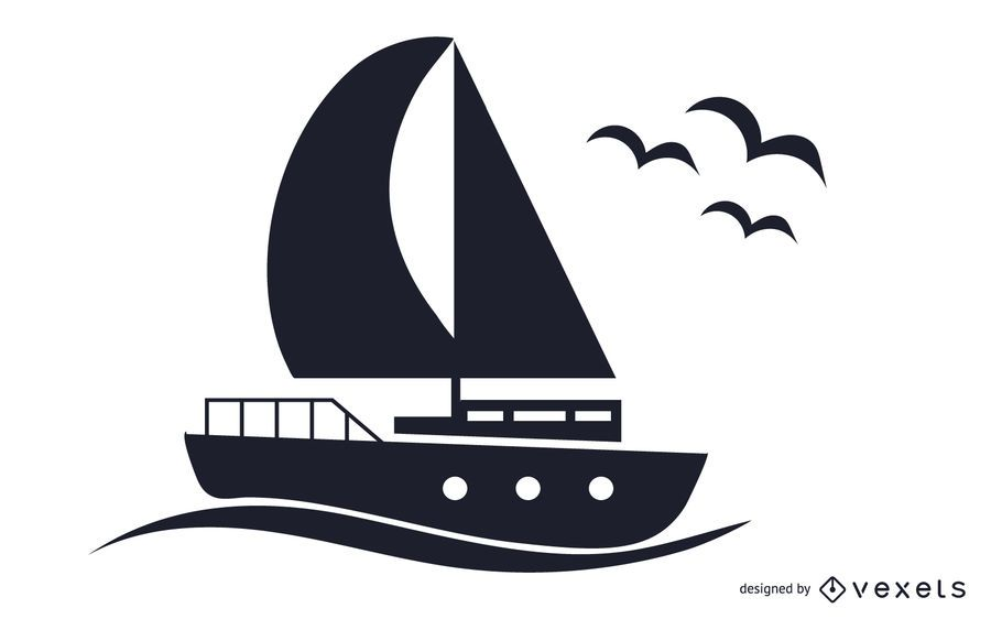 Boat Black and White Illustration