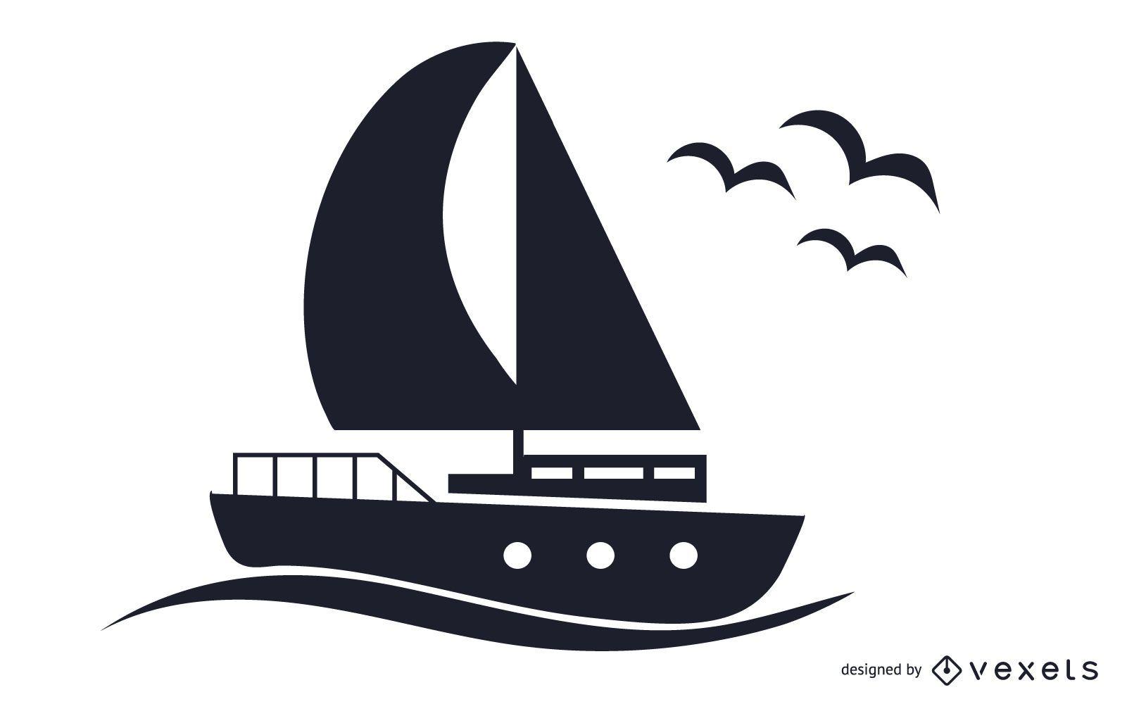 Ilustración de barco blanco y negro
