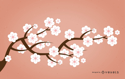 Silhouette Sakura Branch with Pinkish Flowers