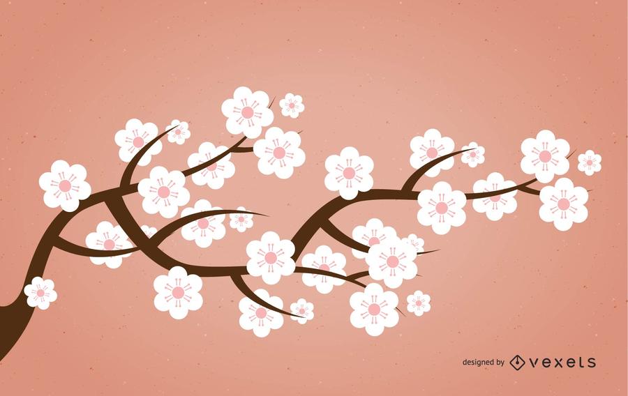 Ramo de Sakura de silhueta com flores rosadas
