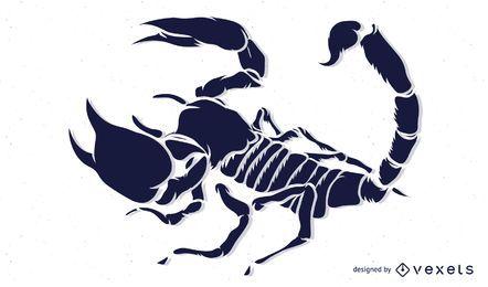 Escorpión plano blanco y negro
