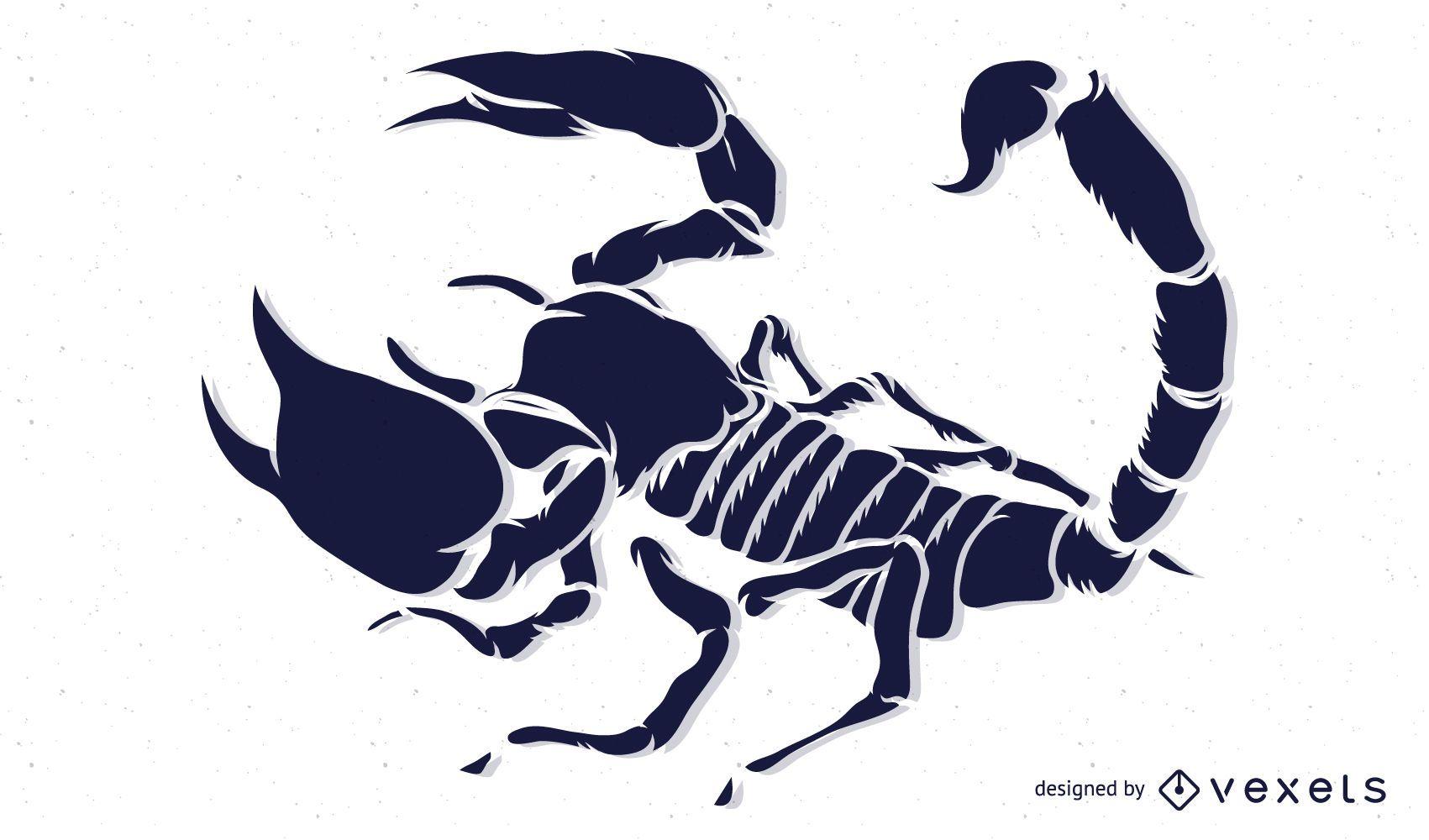 Diseño de silueta detallada de escorpión