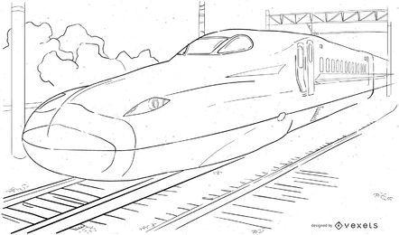 Desenho abstrato trem-bala preto e branco