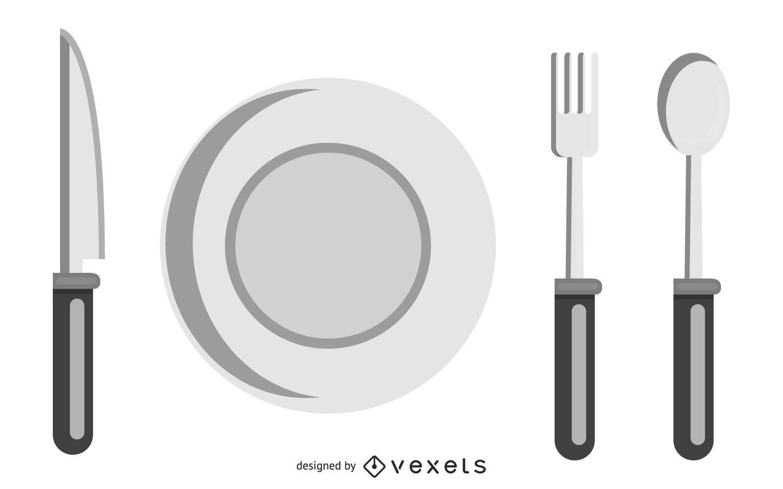 Bosquejo del juego de herramientas de cocina en blanco y negro