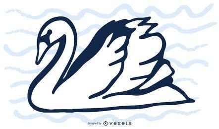 Silhueta de cisne preto e branco