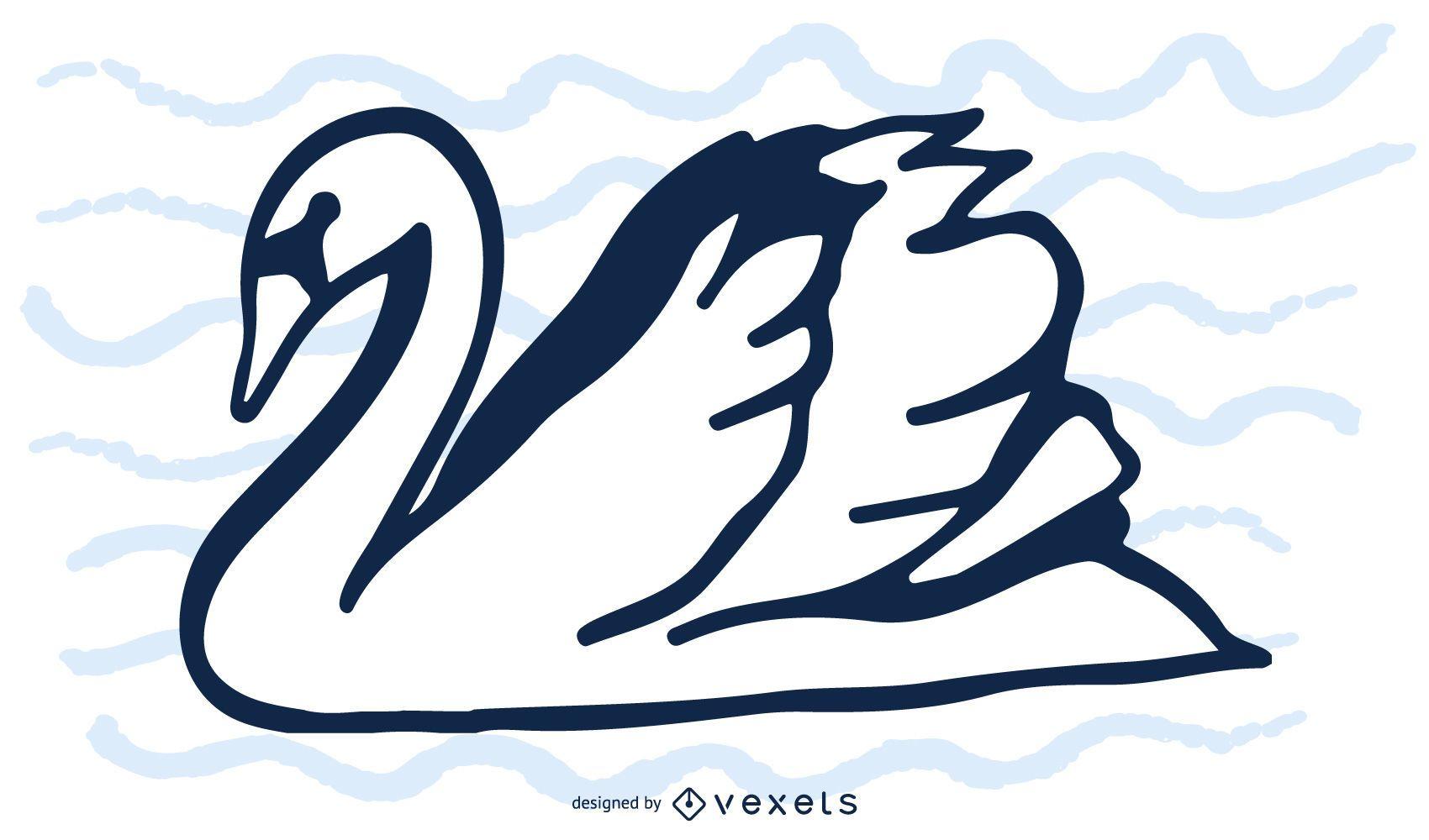 Silueta de cisne blanco y negro