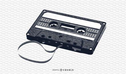 Casete de cinta negra y blanca vintage