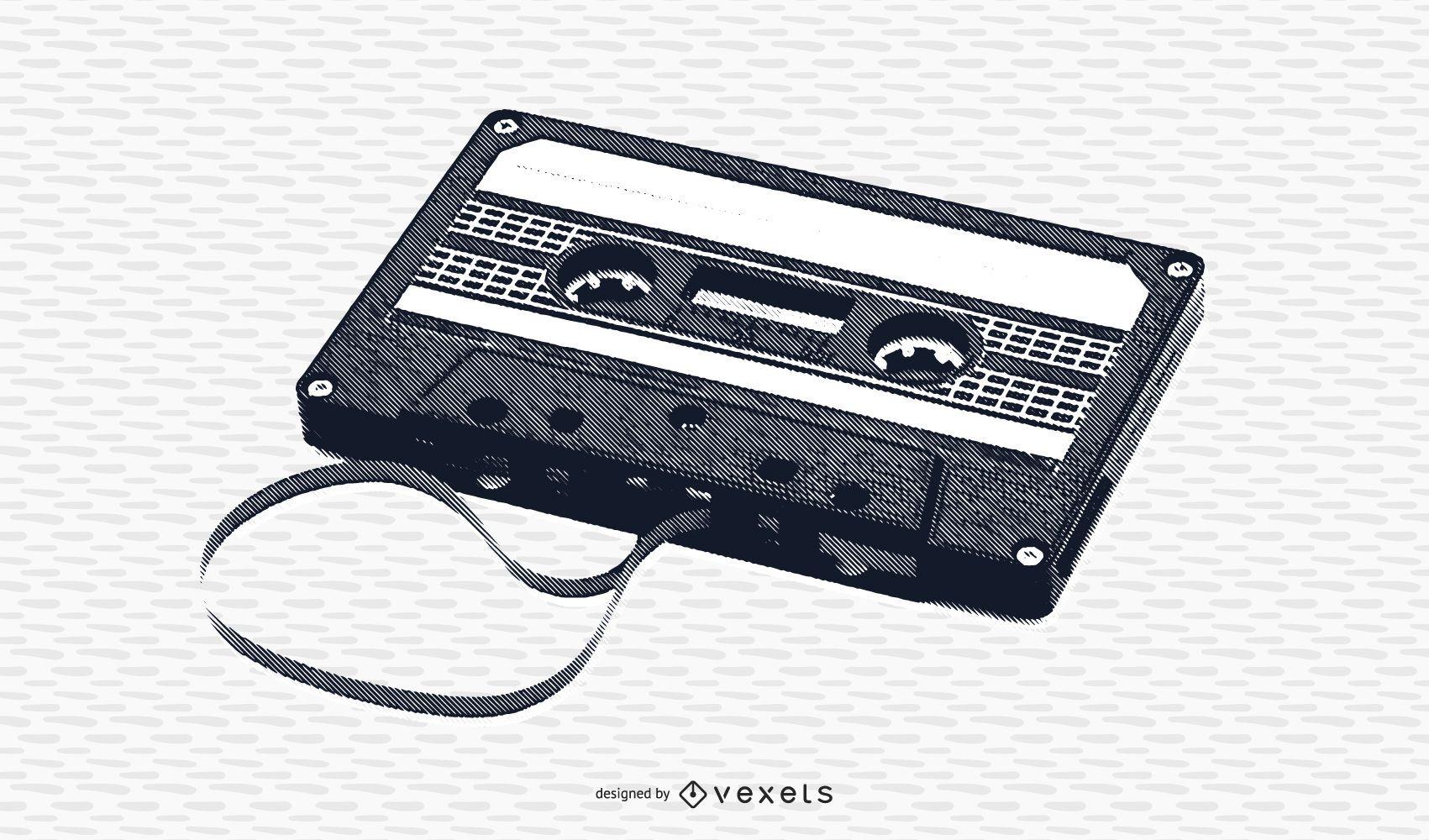 Casete de cinta vintage blanco y negro