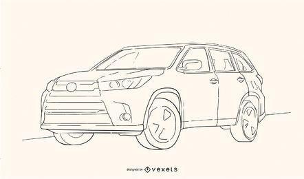 Esboço do highlander de Toyota