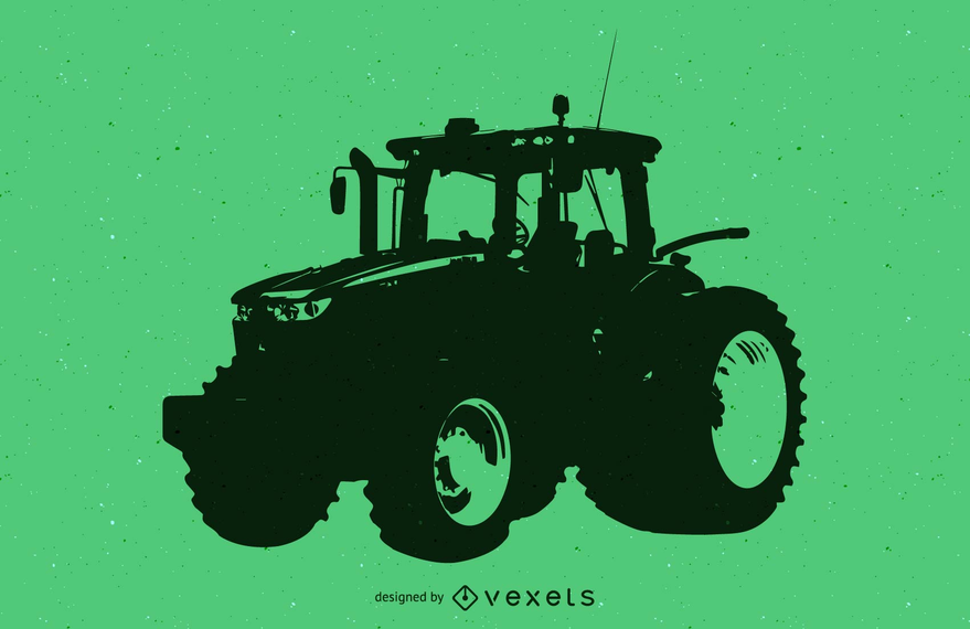 Silhouette Traced Tractor Vehicle