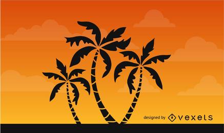 Palmen-Schattenbild auf afrikanischem Himmel