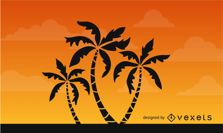 Silhueta de árvores de palma no céu Africano