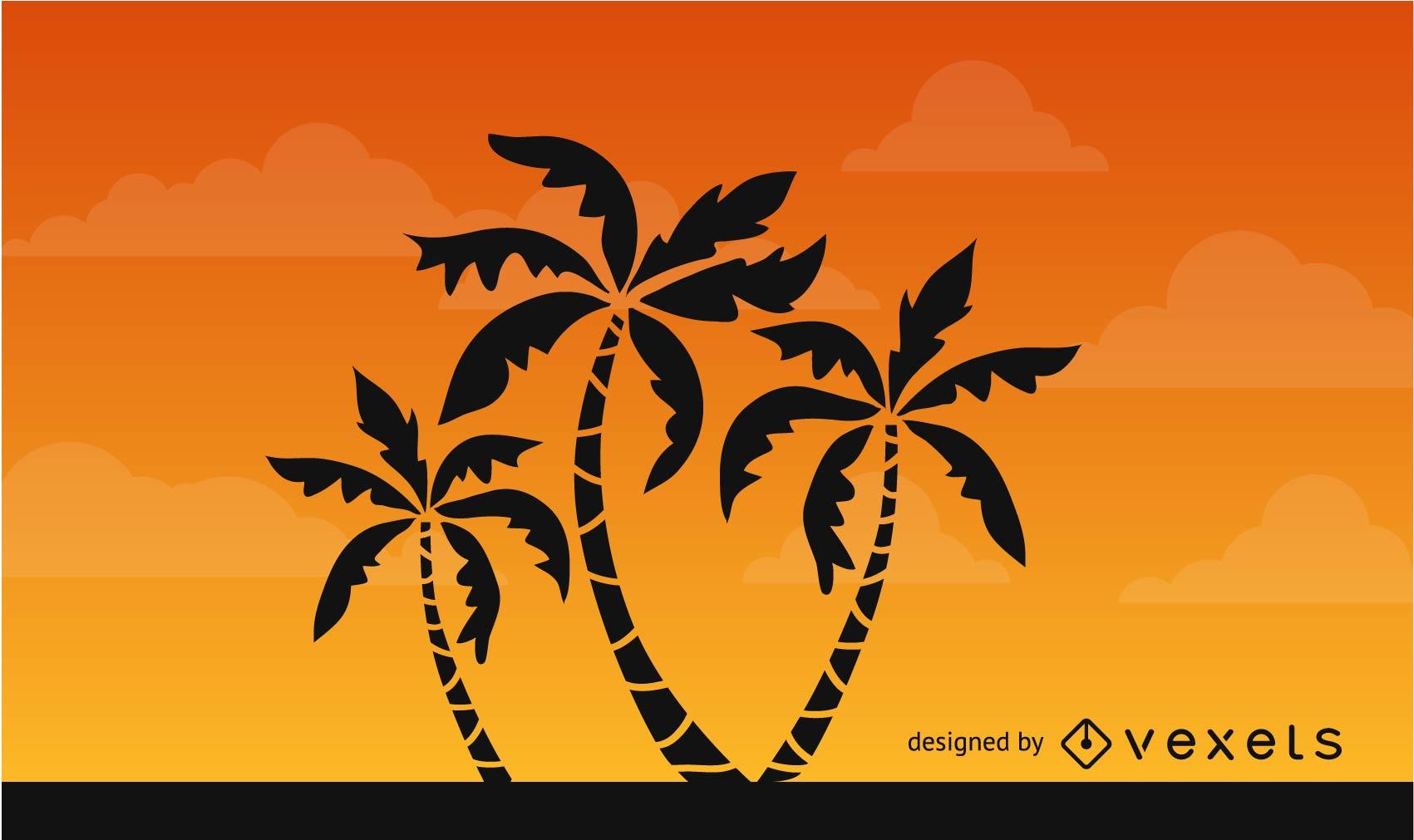 Silueta de palmeras en el cielo africano