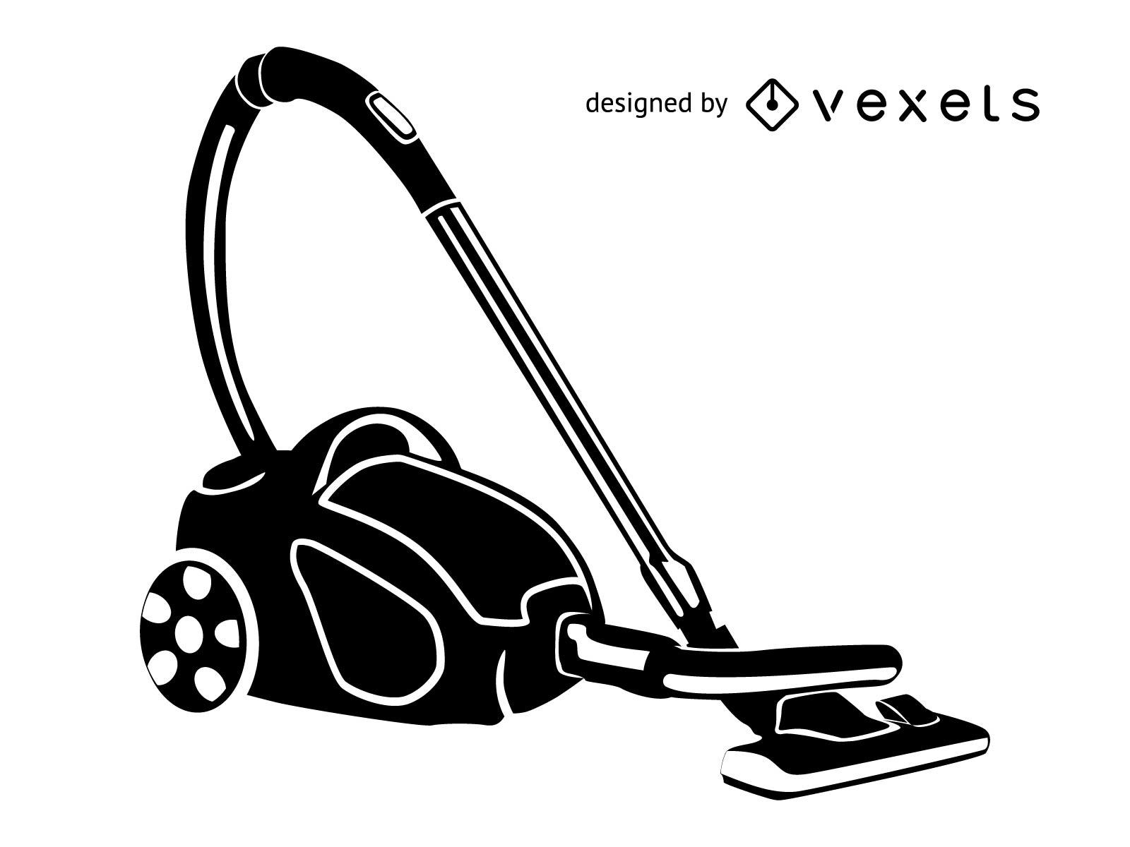 Silhouette Black & White Vacuum Cleaner