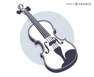 Line Art Blak und weiße Violine