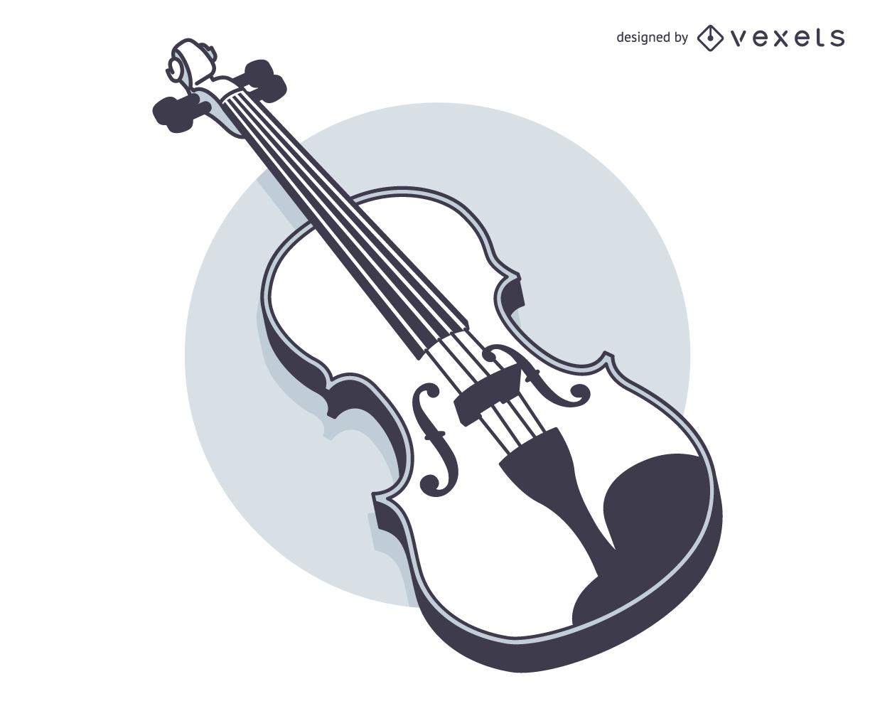 Line Art Blak and White Violin