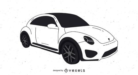 Bosquejo de dunas Volkswagen blanco y negro trazados a mano