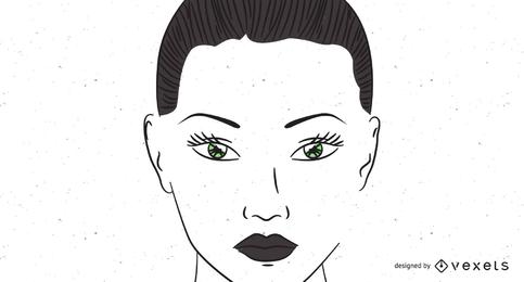 Dibujo de cara de mujer de ojos verdes