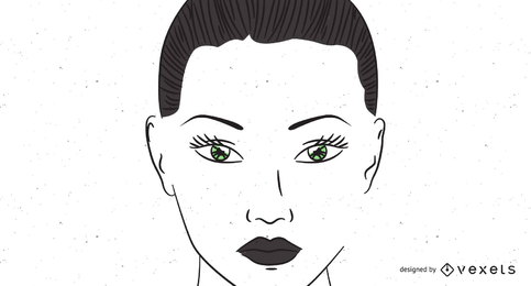 Frauen-Gesichtsskizze der grünen Augen