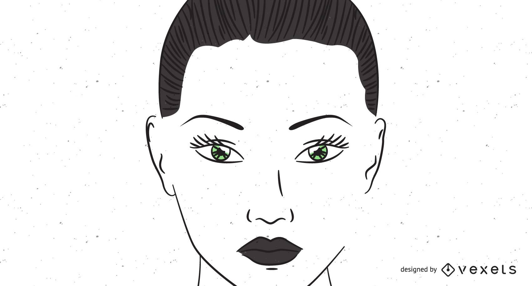 Green Eyes Woman Face Sketch