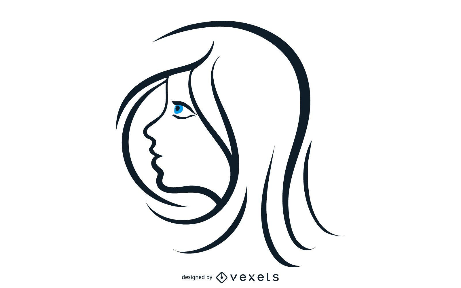 Belleza de mujer con ojos azules