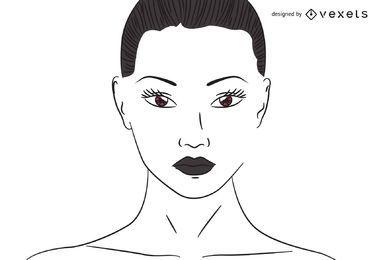 Flache Linie verfolgte Frau mit braunen Augen