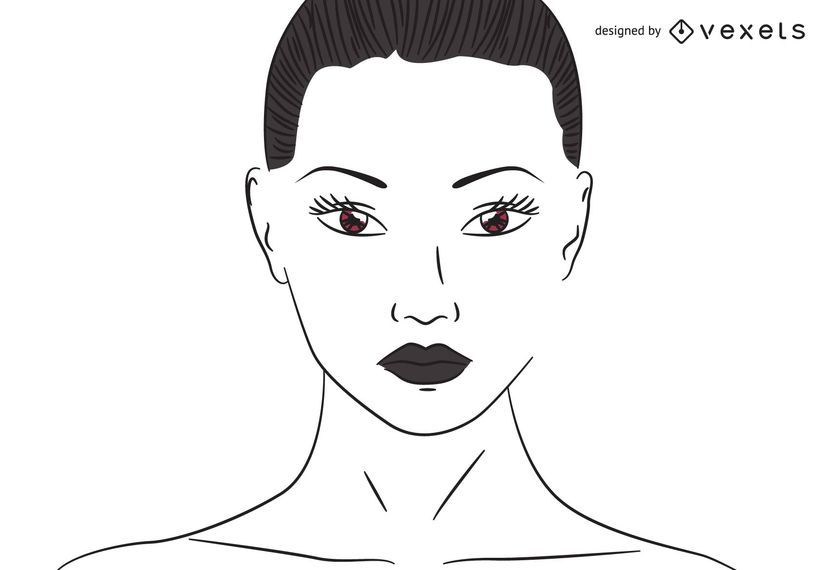 Flat Line Traced Woman with Brown Eyes