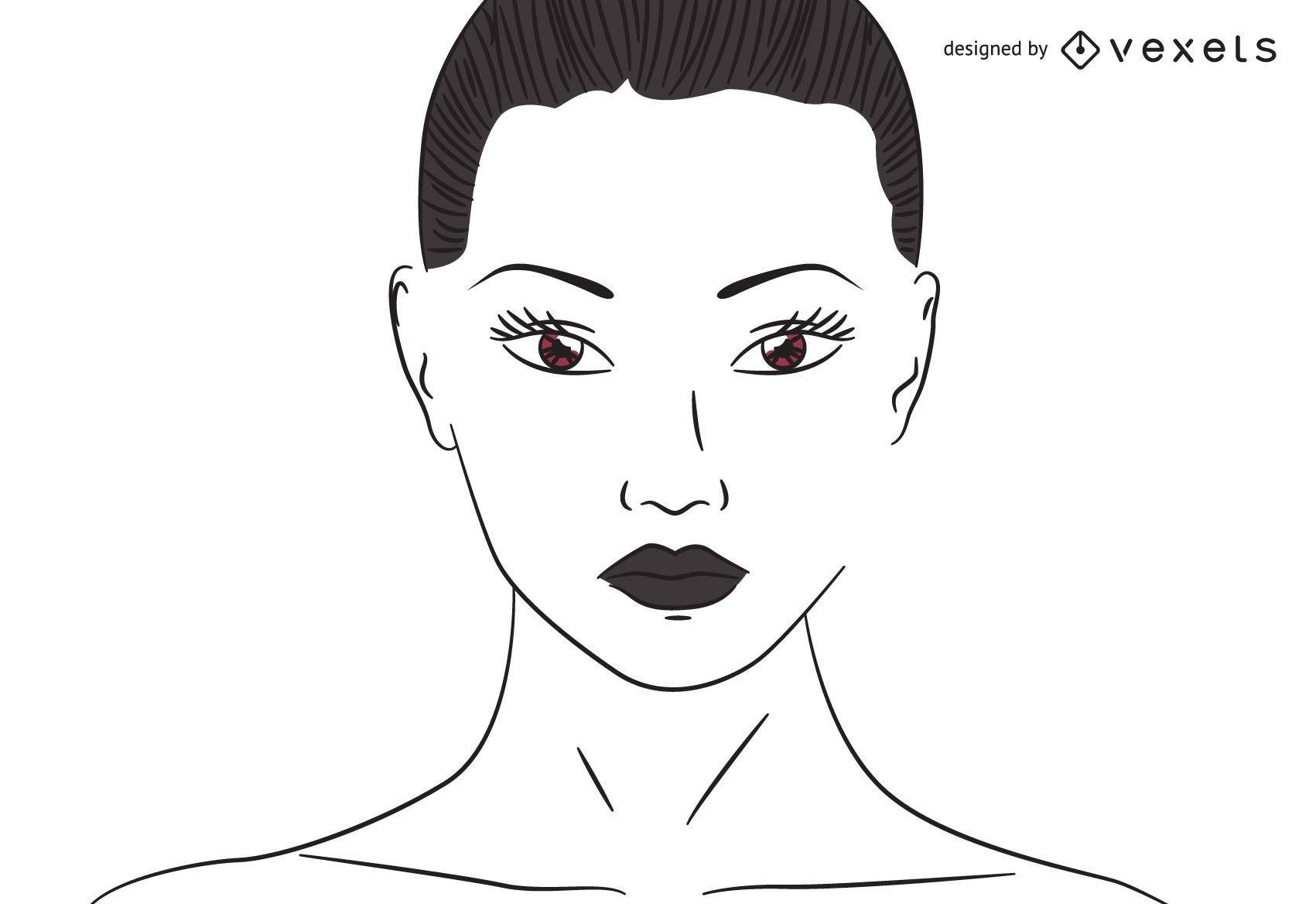 Mujer trazada línea plana con ojos marrones