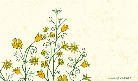 Adorno floral remolino amarillo con corazones