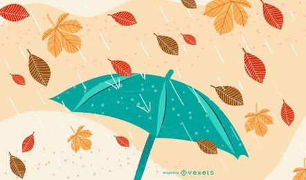 Folhas de outono mão desenhada Funky com chuva