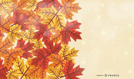 Autumn Maple Leaves Background with Banner