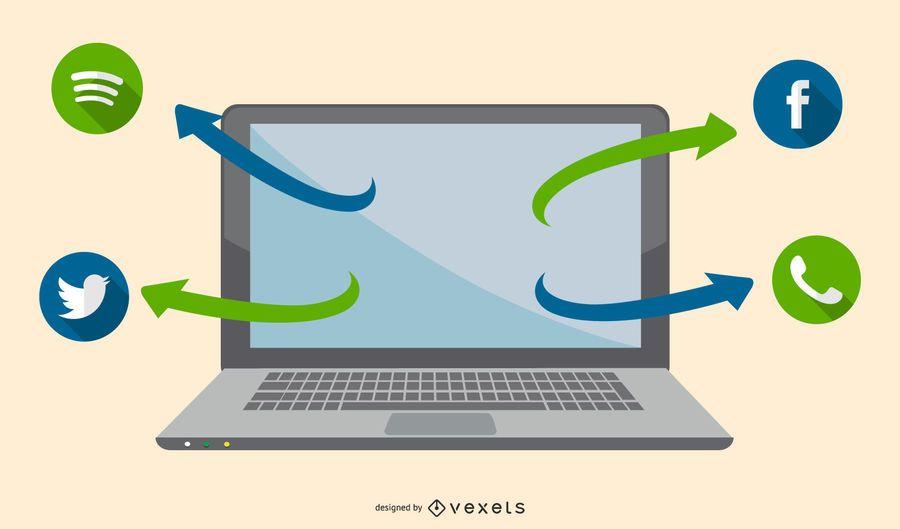 Tecnología Funky abstracta con flecha y computadora