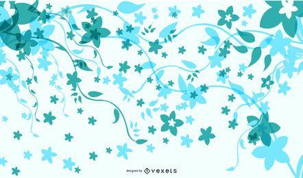Fundo Floral fresco com borboletas funky