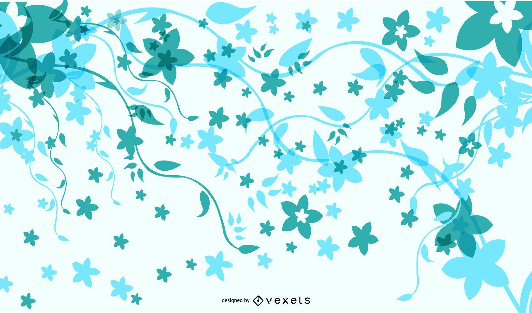 Fondo floral fresco con mariposas funky